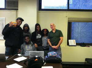 Brownsville Filmmakers Lab. L to R: Bilal, Jeff, Ray, Marjorie, Jay. Seated, Amos.