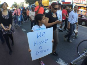 Mother and daughter protest gun violence, Crown Heights, Brooklyn
